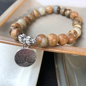 Jewelry - ✨PICTURE JASPER BRACELET W/CHARM 8mm✨